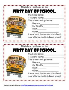 Back to School Transportation Freebie!