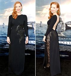 Jessica Chastain cozied up in a custom long-sleeved dress by Riccardo Tisci for Givenchy, with one peekaboo detail—an open back.