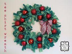 christmas wreaths, rag wreath, holiday wreaths, holiday ideas, neat crafts, tee shirts, tshirt wreath, t shirts, festiv wreath