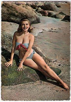 One pinup on the rocks, please :) #beach #summer #1950s #vintage #swimsuit #bikini