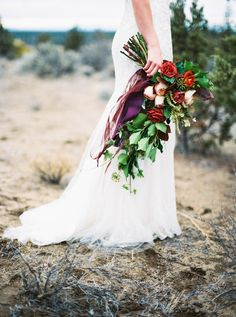 Dark red, blush and green wild bouquet