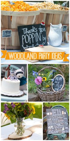 Lots of woodland animals appear at this boy birthday party for a one year old!  See more party ideas at CatchMyParty.com!