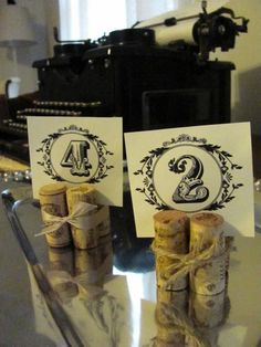 Wine Cork Place Card, Name, Table Number Holders set of 10 by claudine