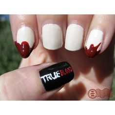 true blood nails...with fang flare! nailswith fang, blood nailswith