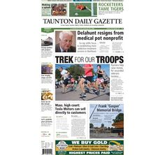 The front page of the Taunton Daily Gazette for Tuesday, Sept. 16, 2014.