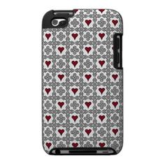 Red and Black Hearts and Spirals Case For The Ipod Touch