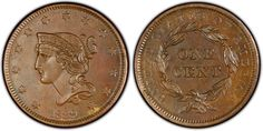 """1839-1857 Braided Hair #Coin. It became obvious at this time that the days of the Half Cent were numbered as more than 70 million of these coins were struck during this period. Imagine that at some time during our history, people were saying, """"a half cent just doesn't go very far these days."""" In fact, by the end of this era, the Mint contemplated replacing the large cumbersome Cent with a smaller coin. The Flying Eagle coin was subsequently introduced."""