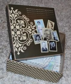DIY Special Memories Box ~ An easy project for holding all those special photos, cards and letters in one place. This is made using 2 12×12 scrapbook papers and a 7 inch craft box ($2 at Walmart).