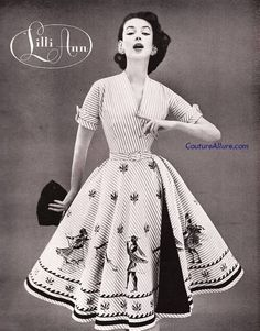 A fantastic ancient Greek novelty print dress from Lilli Ann, 1956. #vintage #1950s #fashion #ads