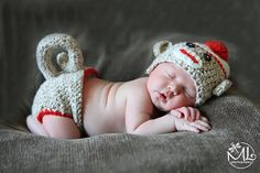 Sock Monkey Hat and Diaper Cover Newborn  by lyttlesister on Etsy, $33.00