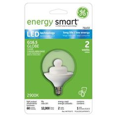 GE Energy Smart 10W Replacement (2W) Globe G16.5 LED Bulb (Warm, Clear, E12) $18.95