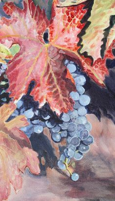 ONE OF A KIND, SMALL, FLOATER FRAMED,ACRYLIC,AUTUMN,GRAPES,WINE,VINEYARD,KACABA $200