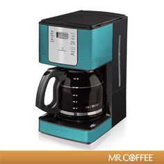 Need a splash of color in your kitchen? Order the Mr. Coffee® 12-Cup Programmable Coffeemaker in teal!