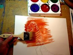 Glue resist dinosaur painting