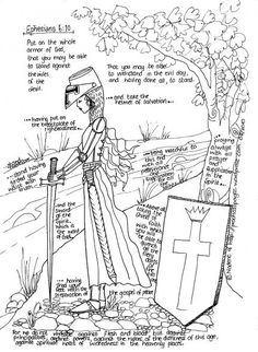 Full armor of God (girl coloring page)