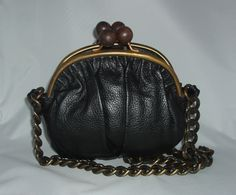 Erva Barneys New York Ruched Black Pebbled Leather Double Kisslock Handbag NEW