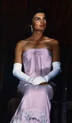 Jackie Kennedy in a strapless gown and gloves, 1963