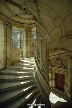 Staircase in the interior of the castle at Blois, Centre, France, Europe