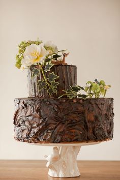 chocol cake, tree cake, tree stump, rustic chocol, chocolate wedding cakes, groom cake, grooms cake chocolate, backyard weddings, chocolate cakes