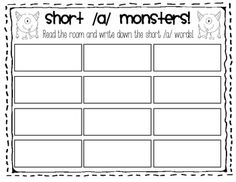FREE Here are 3 activities to use when studying short /a/!  The entire short vowel AND long vowel monster activities are included in my