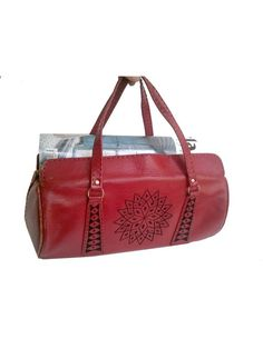 1950 MOROCCAN RED leather BAG / embroidery by lesclodettes on Etsy