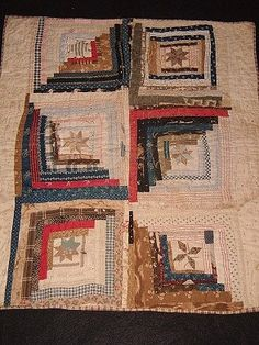 "ANTIQUE Log Cabin and Patch Crib Quilt with star centers, 31 x 37"", 1860's-1880's; seller thinks it was originally from adult-sized quilt."