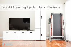 Smart Organizing Tips for Home Workouts & home gyms via A Bowl Full of Lemons