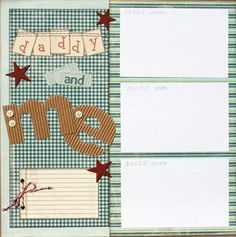 Premade Scrapbook Page 12 x 12 Boy Layout - Daddy and  Me.