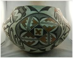 A unique piece of pueblo history! This vessel is estimated to have been made in the early 20th century by an #Acoma artist, although there is no signature. This piece is in very good condition and is covered from top to bottom in alternating geometric storm patterns and medallion-like circular designs.