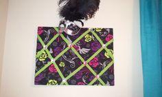 DIY memory Board. (foam board, fabric, ribbon, jewels, hot glue)