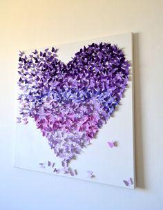3D Purple Ombre Butterfly Heart / 3D Butterfly Art / Nursery Decor /Girl's Room Art / Wedding Gift /Romantic Statement Art - Made to Order on Etsy, $210.00