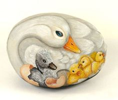 rock painting ducks