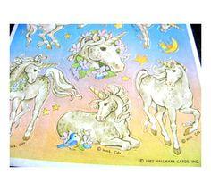 These were some of my favorites!  Vintage Hallmark Unicorn Sticker Sheet 80's.