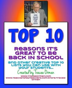 FREE! Back to School {or ANYTIME} Top 10 Lists Activity Icebreak