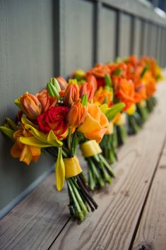 #Wedding Colours... 3 main colours:- black, white, orange cream + 2 accent colours:- yellow gold  poppy...Country Orange wedding Bouquets