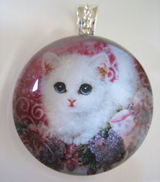 Round Glass Tile | ... CAT Kitten, Pink Accents~Large Round Glass Tile Pendant Art Necklace