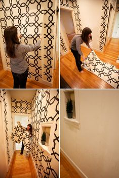 Temporary wallpaper you can easily remove when you move or change a bedroom! Sherwin Williams Easy Change.