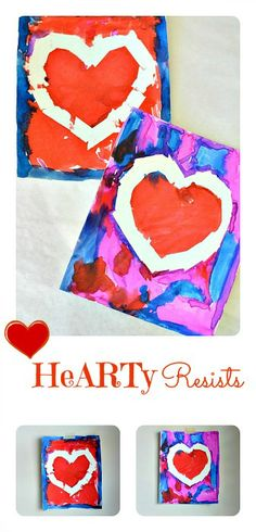 Heart themed resist art for toddlers and preschoolers. They make beautiful wall art. #valentinesdaycraftsforkids