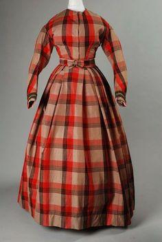 Two-piece woolen plaid dress, 1855-65