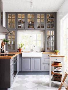 butcher block, cupboard, colors for kitchens, cabinet colors, small kitchens, grey kitchens, painted floors, white kitchens, kitchen cabinets