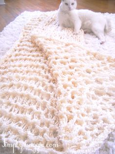 I'm arm knitting this blanket for my friends baby :) only takes an hour!