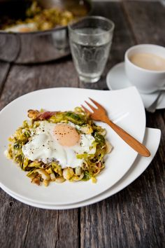 Brussels Sprouts Bacon Breakfast Hash with Eggs | Food for My Family