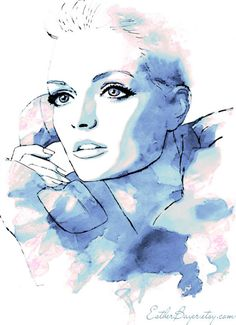 Winter Sunrise - Watercolor Fashion Illustration Sketch Drawing Abstract Print