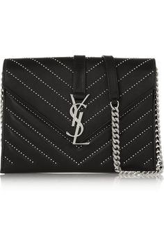 SAINT LAURENT Monogramme studded quilted leather shoulder bag $2,150