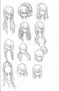 Hairstyles to try for She art -- lol - I have created pages of these while sitting in [work] conferences and thinking about painting my girls -