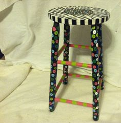 Funky hand painted wooden bar stool zebra by ThreeSixtyThrift. $35.00, via Etsy.