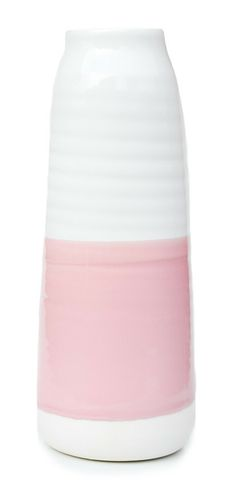Dipped Porcelain Vase in White and Pink