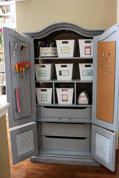 Update an old armoire or TV cabinet (be on the lookout at yard sales & thrift stores) to make a great looking storage cabinet for your craft supplies!  #papercraft #craftrooms #studios