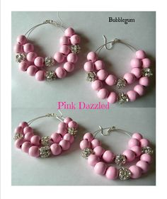 Bubblegum Wood and Pave Crystal Double Hoop by PinkDazzled on Etsy, $19.99