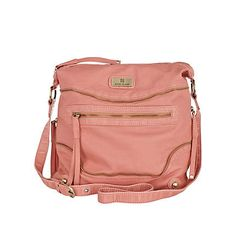 coral cross body messenger bag with zip front detail,
